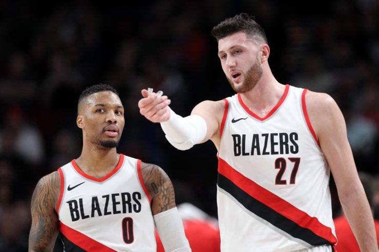 Portland Trail Blazers' Damian Lillard and Jusuf Nurkic