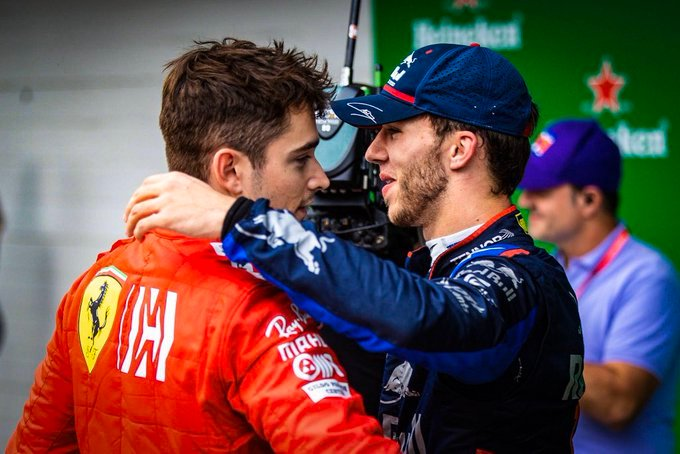 WATCH: Charles Leclerc Hugs Pierre Gasly After his Maiden Win in Monza - Essentially Sports