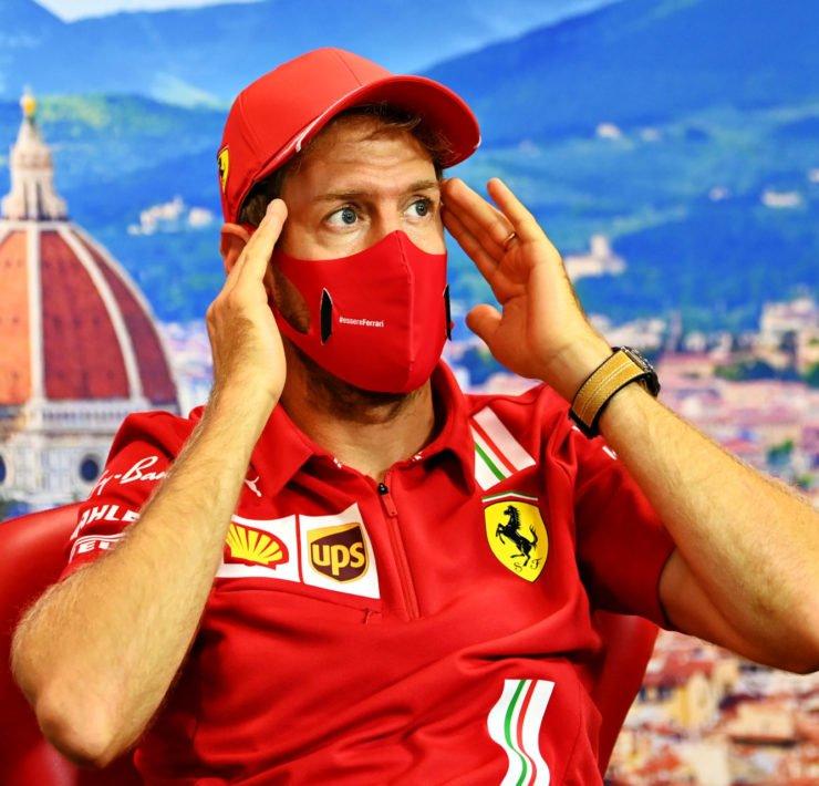 Sebastian Vettel at the Press conference ahead of the Tuscan Grand Prix in Mugello for Ferrari's 1000th race