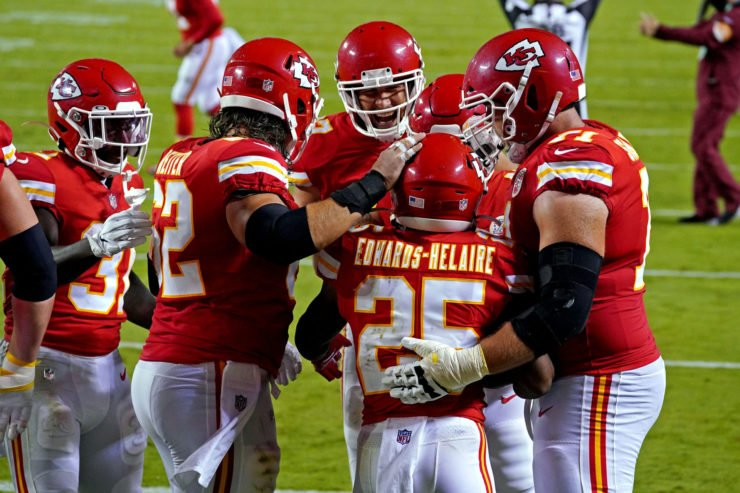 Kansas City Chiefs players celebrate in the win over Houston Texans on opening day.