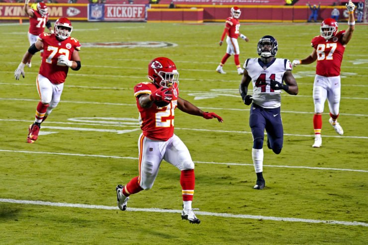 Kansas City Chiefs running back Clyde Edwards-Helaire celebrates against Houston Texans in Week One.