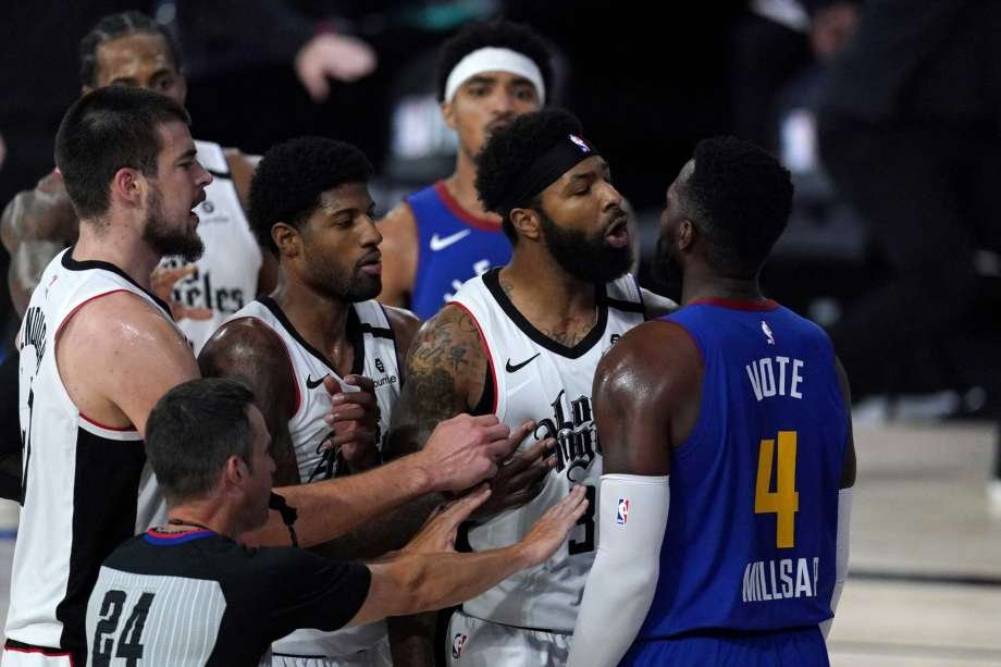 Watch Paul Millsap And Marcus Morris Involved In A Heated Scuffle In Clippers Vs Nuggets Game 5 Essentiallysports