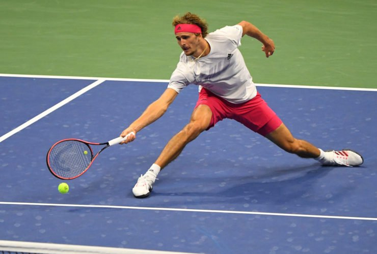 Alexander Zverev during the semifinal match at the US Open 2020