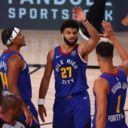 Denver Nuggets celebrating after winning game 5