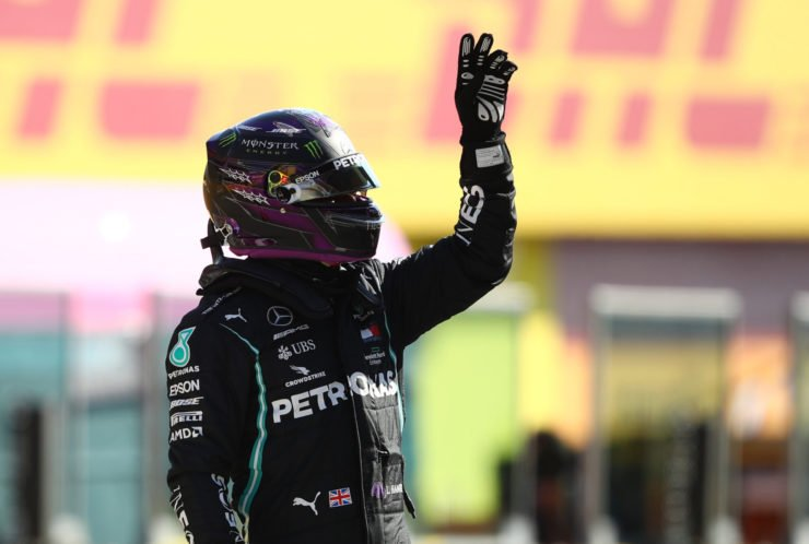 Lewis Hamilton acknowldges the fans after taking pole in Tuscany