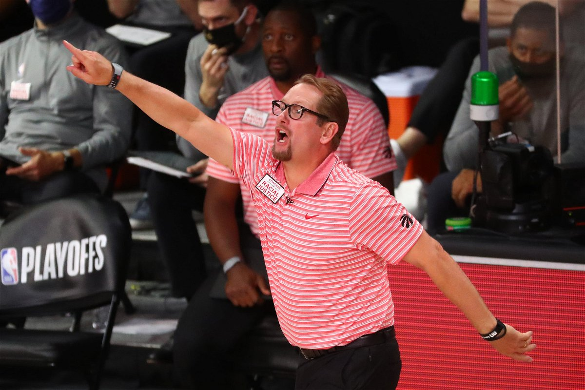 Toronto Raptors head coach Nick Nurse in action on the touchline