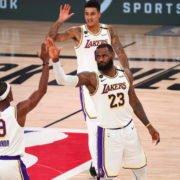 Los Angeles Lakers vs Houston Rockets: Rajon Rondo and LeBron James