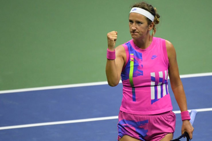 Victoria Azarenka celebrates after winning a point against Serena Williams in the 2020 US Open