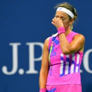 Victoria Azarenka reacts during her match with Serena Williams at the 2020 US Open