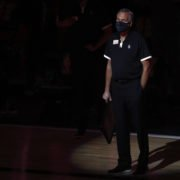 Houston Rockets head coach Mike D'Antoni watches his team play in the NBA Playoffs 2020