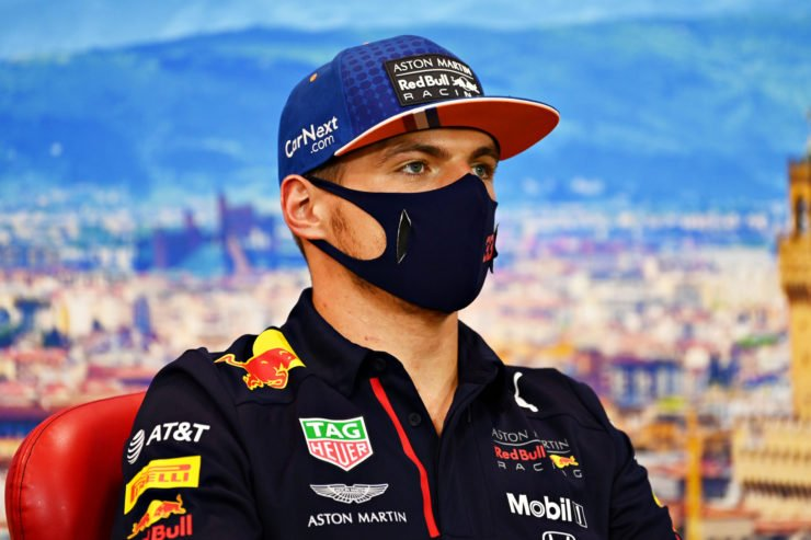 Red Bull driver Max Verstappen speaks at the driver's press conference ahead of the Tuscan Grand Prix