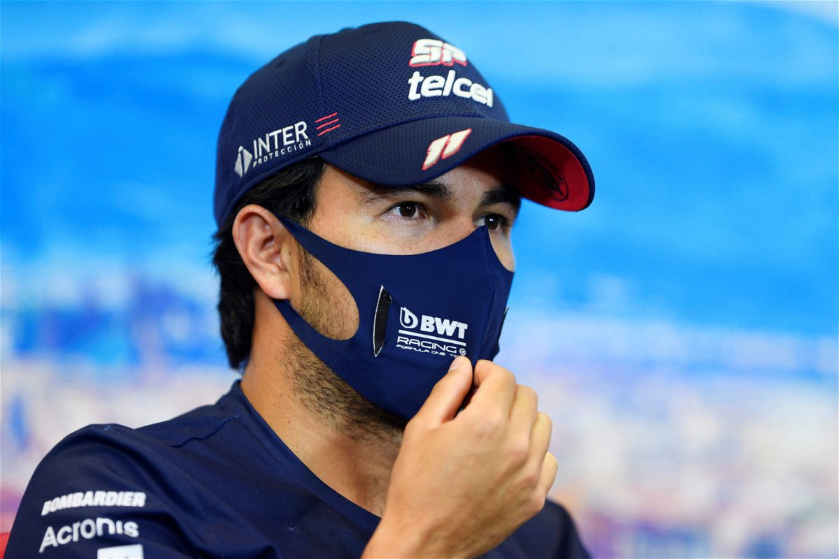 Sergio Perez Speaks During Tuscan GP Press Conference