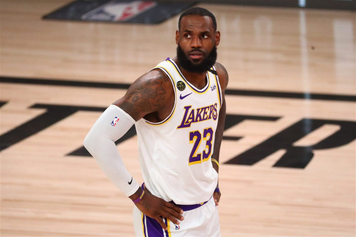 Los Angeles Lakers star LeBron James looks on during the second round playoff series against the Houston Rockets
