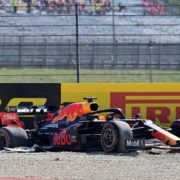Red Bull Max Verstappen crashes out of the Tuscan Grand Prix and gets stuck in the gravel