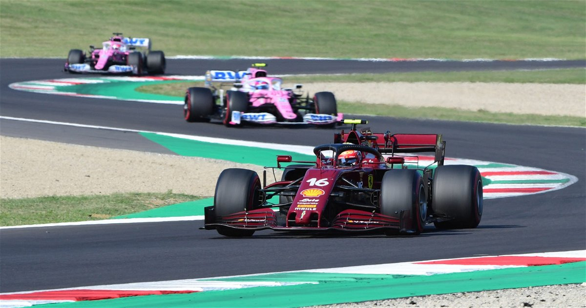 Ferrari driver Charles Leclerc in action during the Tuscan Grand Prix
