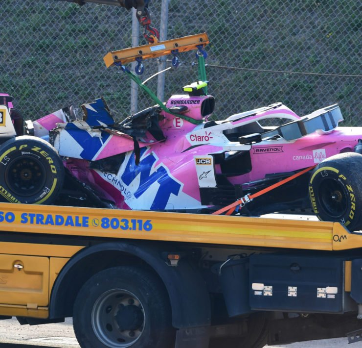 Lance Stroll's car at Tuscan Grand Prix After Crash
