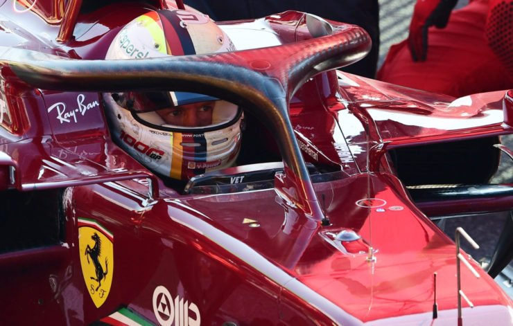 Sebastian Vettel waits in his cockpit during red flag in Tuscan Grand Prix