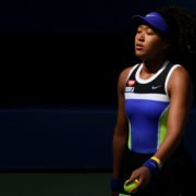Naomi Osaka pictured after winning a game against Marta Kostyuk at the 2020 US Open