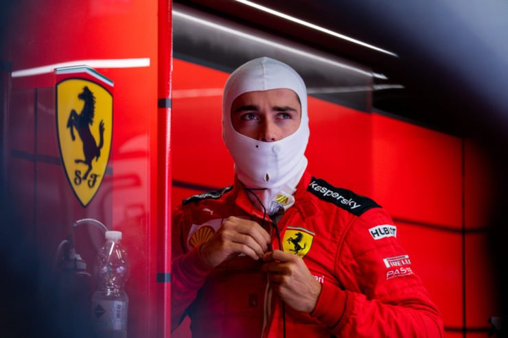 Ferrari driver Charles Leclerc Getting Suited For The Italian GP