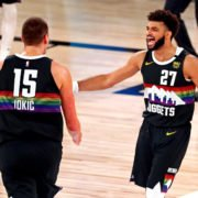 Denver Nuggets' Jamal Murray celebrates with Nikola Jokic during the fourth quarter in Game 6 against the LA Clippers