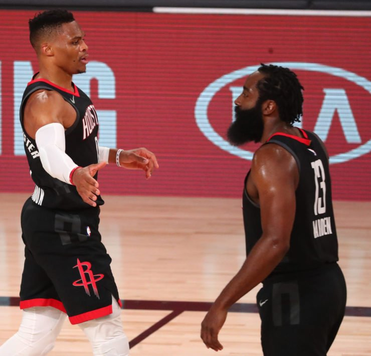 Houston Rockets James Harden and Russell Westbrook together against the Lakers