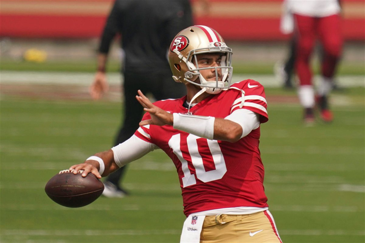 San Francisco 49ers quarterback Jimmy Garoppolo attempts a throw against Arizona Cardinals in Week One.