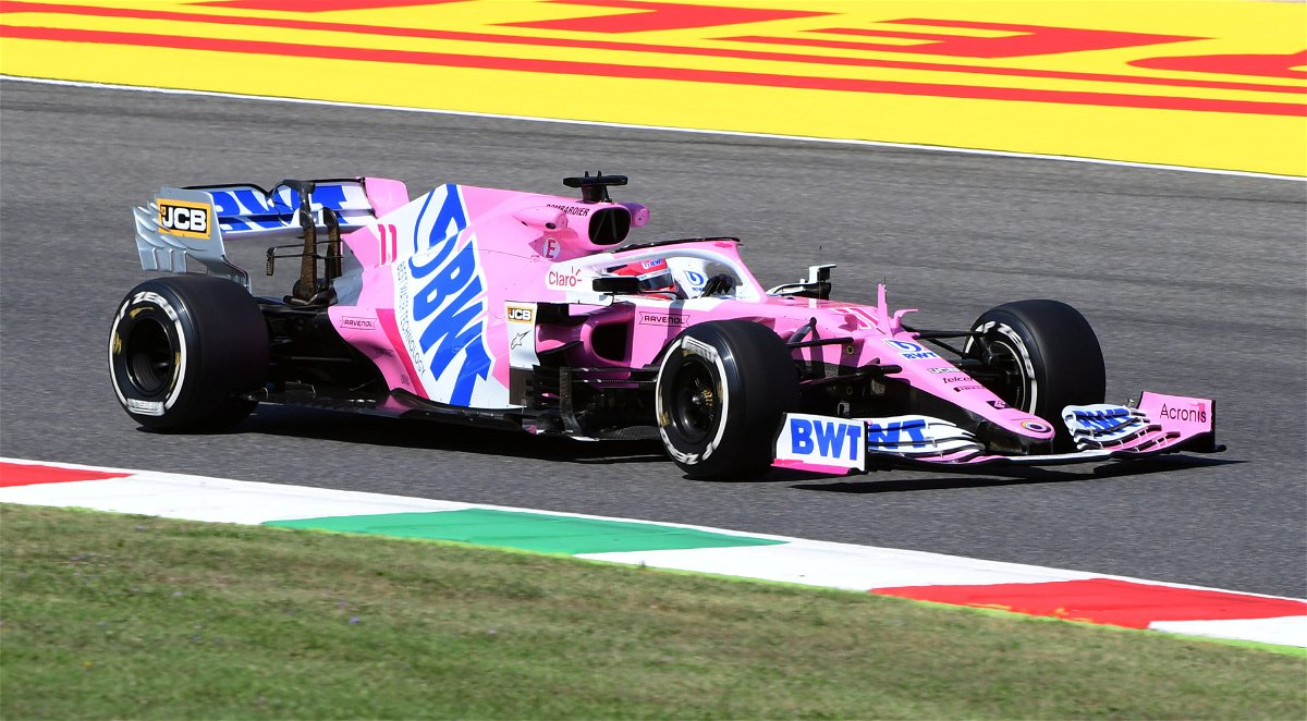 Racing Point driver Sergio Perez on a qualifying lap ahead of the Tuscan Grand Prix