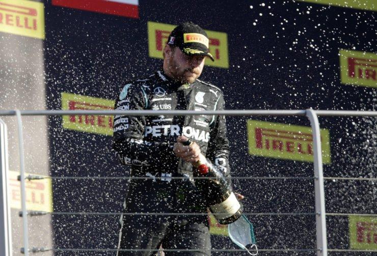 Valtteri Bottas celebrates after podium in Tuscan