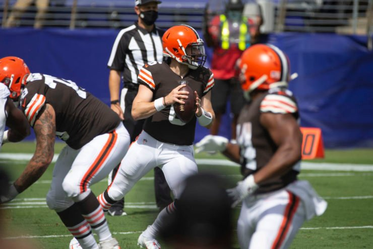 Cleveland Browns quarterback Baker Mayfield attempts to make a play against Baltimore Ravens in Week One.Baker Mayfield