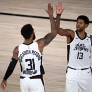 LA Clippers Paul George And Marcus Morris Celebrating