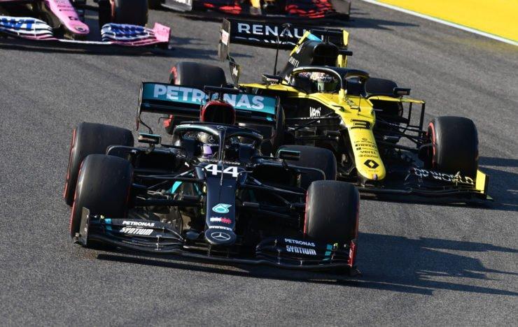 F1 Tuscan Grand Prix Lewis Hamilton of Mercedes leads Renault driver Daniel Ricciardo