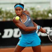 Coco Gauff returns a shot in the Italian Open 2020