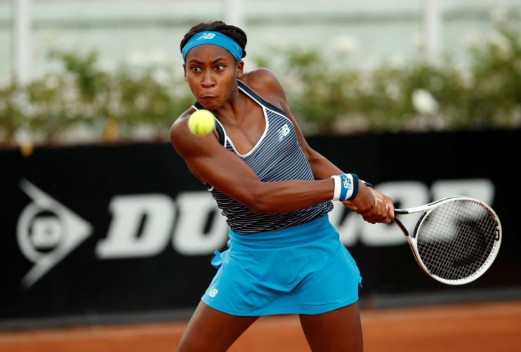 Coco Gauff returns a shot in the Italian Open 2020