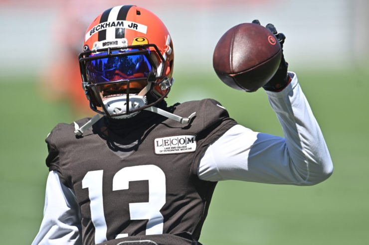 Cleveland Browns wide receiver Odell Beckham Jr. pictured in training ahead of Week One.