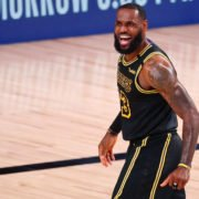 LeBron James celebrating in NBA Playoffs 2020