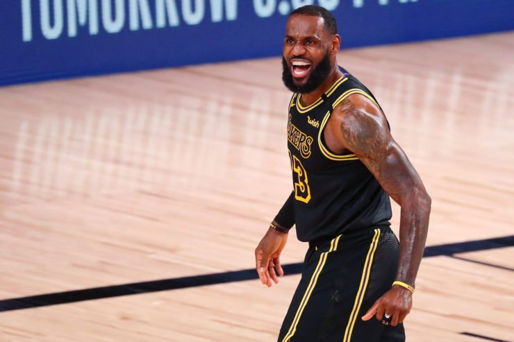 LeBron James celebrating in NBA Playoffs 2020