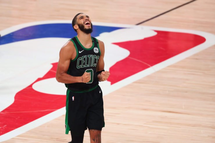 Boston Celtics star Jayson Tatum celebrating game 7 victory in NBA playoffs