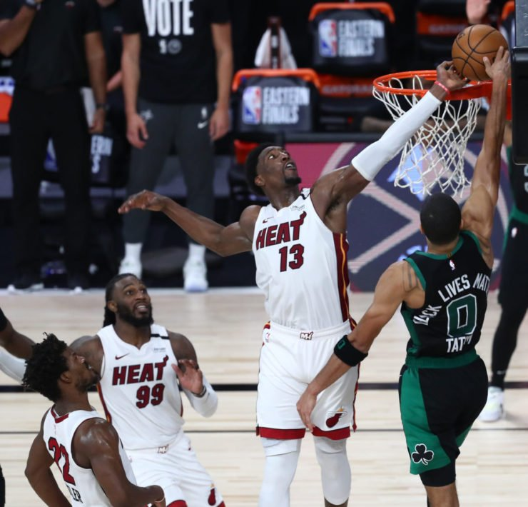 Miami Heat center Bam Adebayo makes a crucial block on Boston Celtics forward Jayson Tatum in the dying moments of Game 1 in the Eastern Conference Finals