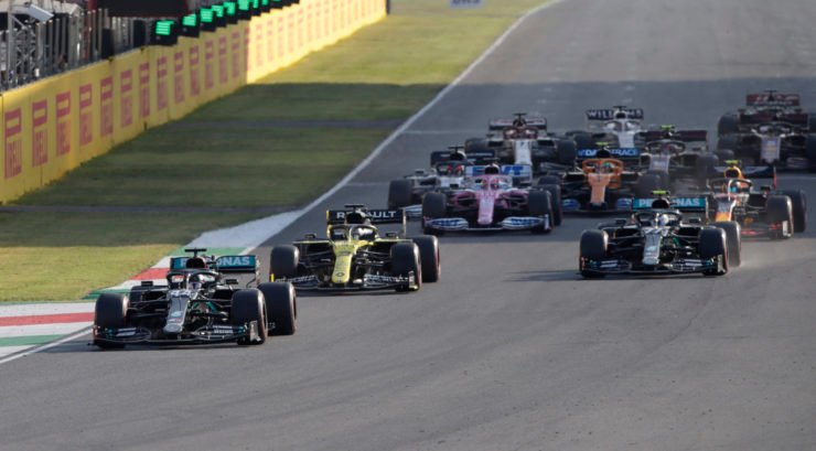 Lewis Hamilton Leading The Pack at Tuscan GP