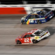 Joey Logano and Ryan Blaney during a NASCAR Cup Seriesrace