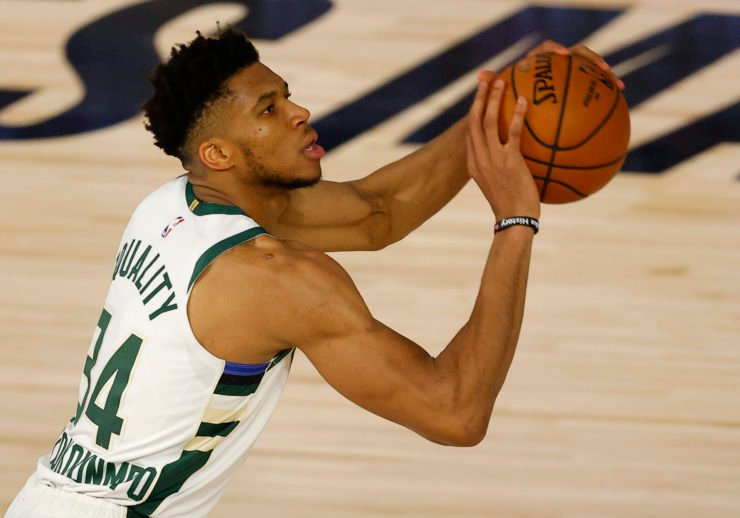 Bucks star Giannis Antetokounmpo shooting in NBA playoffs 2020