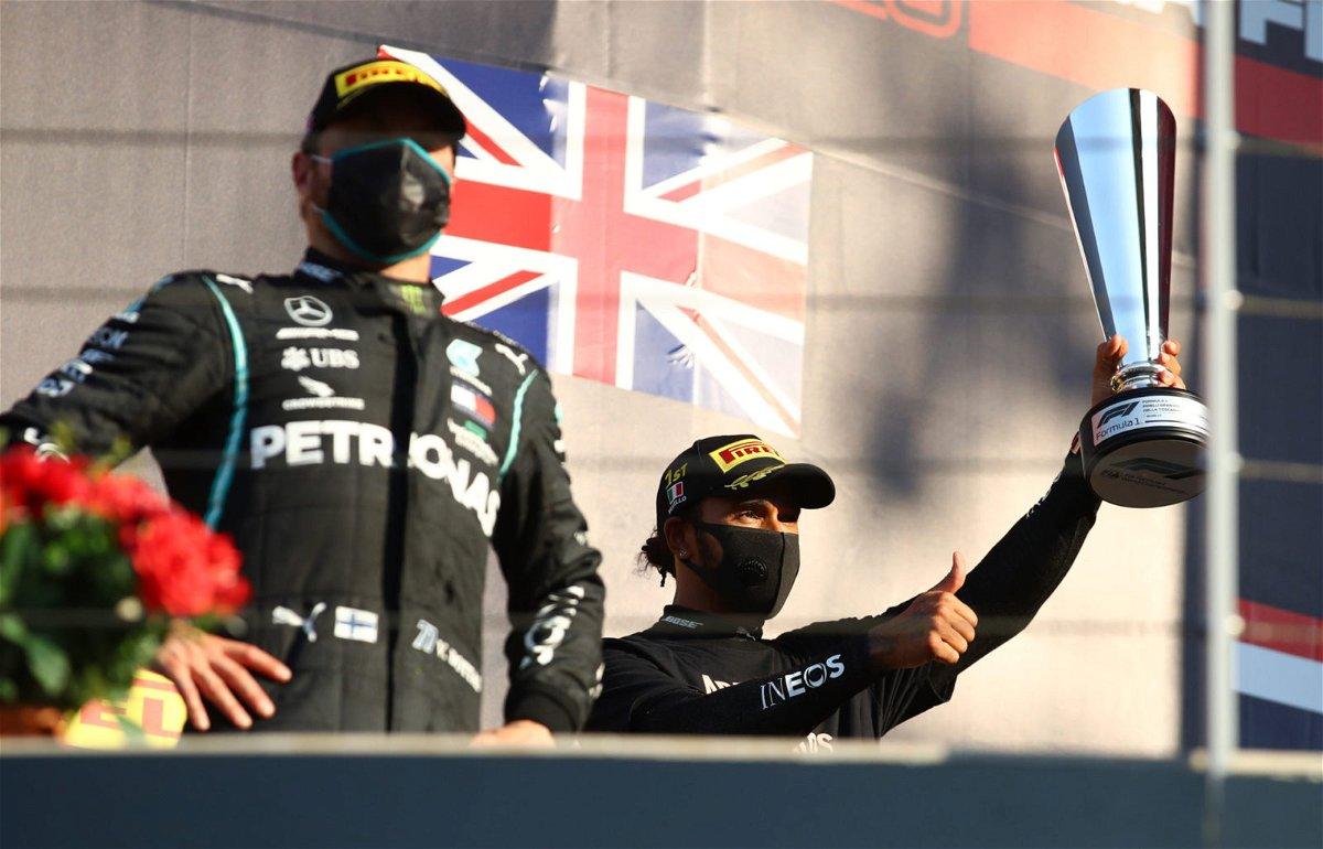 Lewis Hamilton Celebrates His Tuscan GP Win
