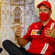 Ferrari driver Sebastian Vettel seems rather concerned at the press conference for the Italian Grand Prix