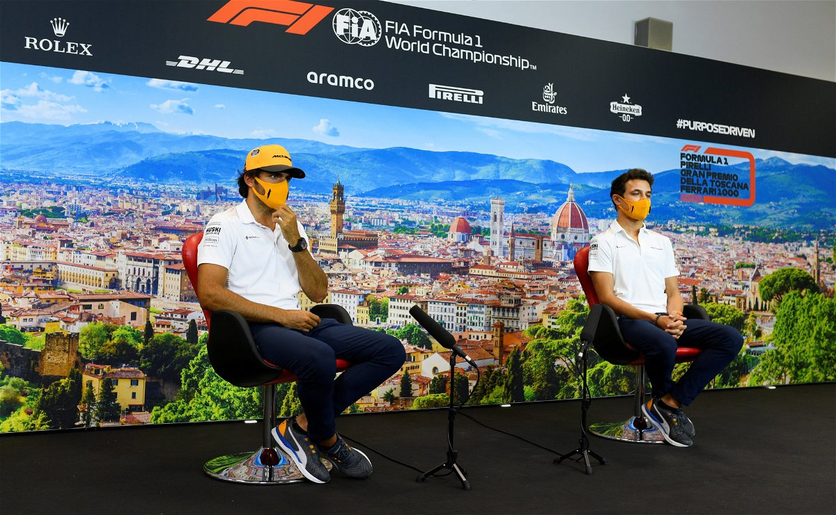 McLaren drivers Carlos Sainz and Lando Norris during the Tuscan Grand Prix Press Conference