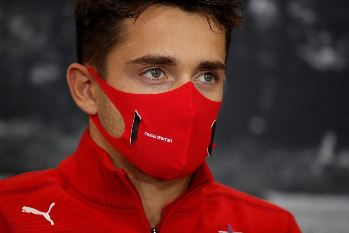 Ferrari driver Charles Leclerc at a press conference