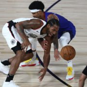 LA Clippers' Kawhi Leonard against Nuggets Gary Harris