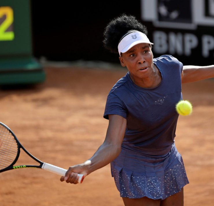 Venus Williams hits a shot against Victoria Azarenka in the Italian Open 2020