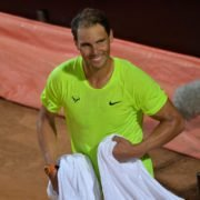 Rafael Nadal shares a light moment during his second round game against Pablo Carreno Busta at the 2020 Italian Open