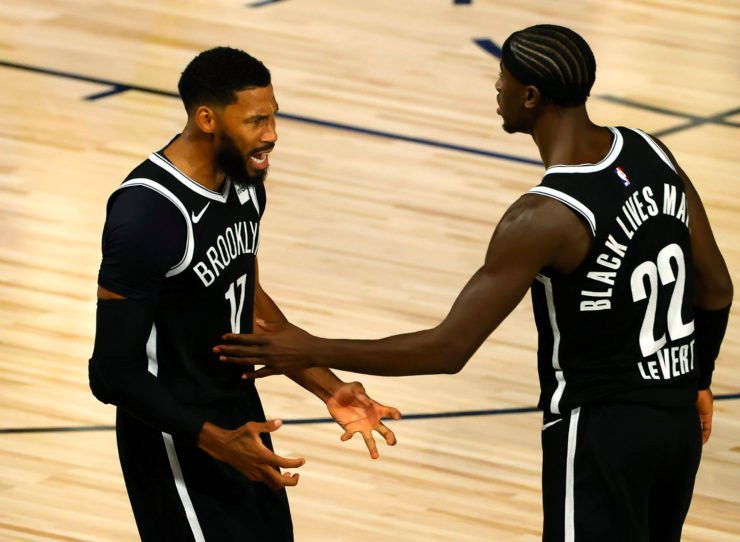 Garrett Temple of the Brooklyn Nets with teammate Caris LeVert