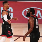 Houston Rockets stars James Harden and Russell Westbrook celebrating